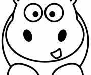 Coloriage Hippopotame simple pour maternelle