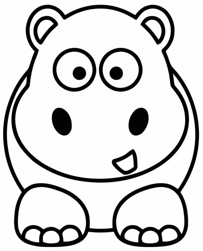 Coloriage Hippopotame Simple Pour Maternelle Dessin Gratuit à Imprimer