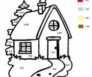 Coloriage Maison numéroté Facile