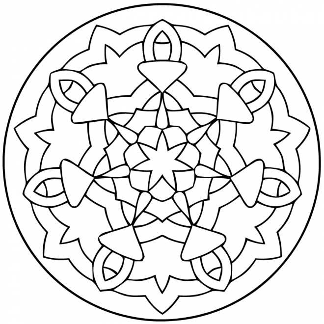 Coloriage et dessins gratuits petit mandala facile à imprimer