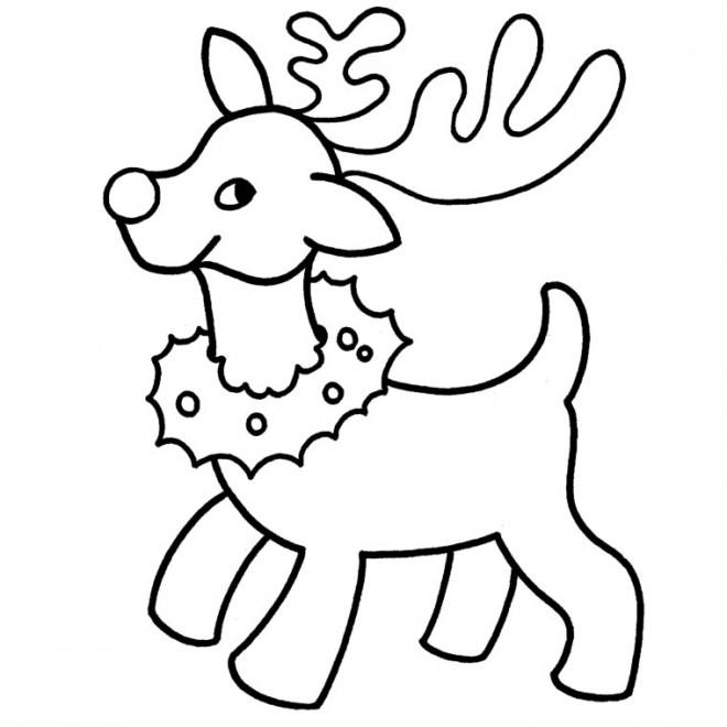 Coloriage Renne De Père Noël Facile Dessin Gratuit à Imprimer