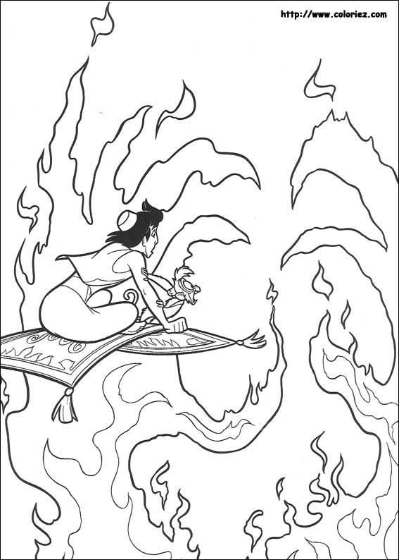Coloriage et dessins gratuits Aladdin vole à travers les flammes à imprimer