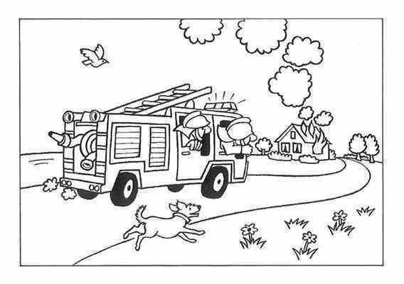 Coloriage et dessins gratuits Camion de Pompier se dirige vers L'incendie à imprimer