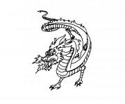 Coloriage Dragon chinois crache du Feu