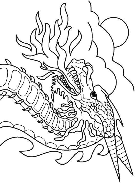 Coloriage et dessins gratuits Dragon chinois de feu à imprimer