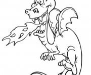 Coloriage Dragon drôle crache du Feu
