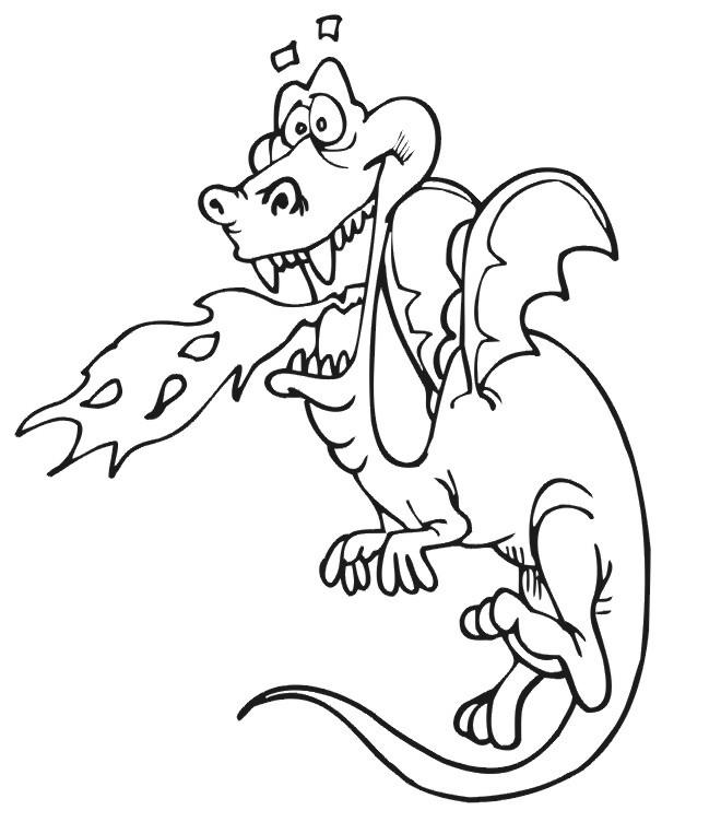 Coloriage Dragon Drôle Crache Du Feu Dessin Gratuit à Imprimer