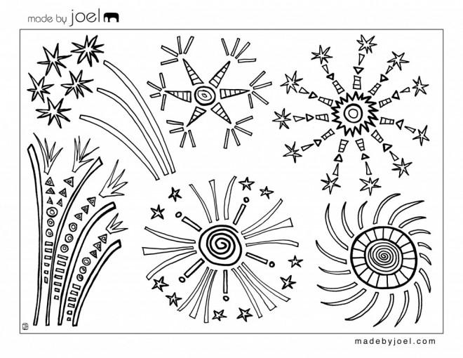 Coloriage et dessins gratuits Feu d'artifice à imprimer