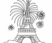 Coloriage Feu d'artifice à Paris