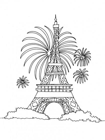 Coloriage Feu D Artifice à Paris Dessin Gratuit à Imprimer