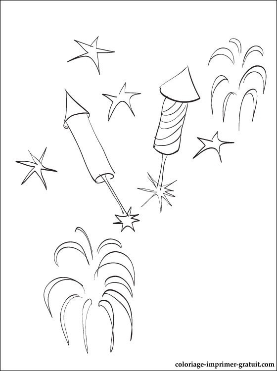 Coloriage et dessins gratuits Feu d'artifice dans le ciel à imprimer