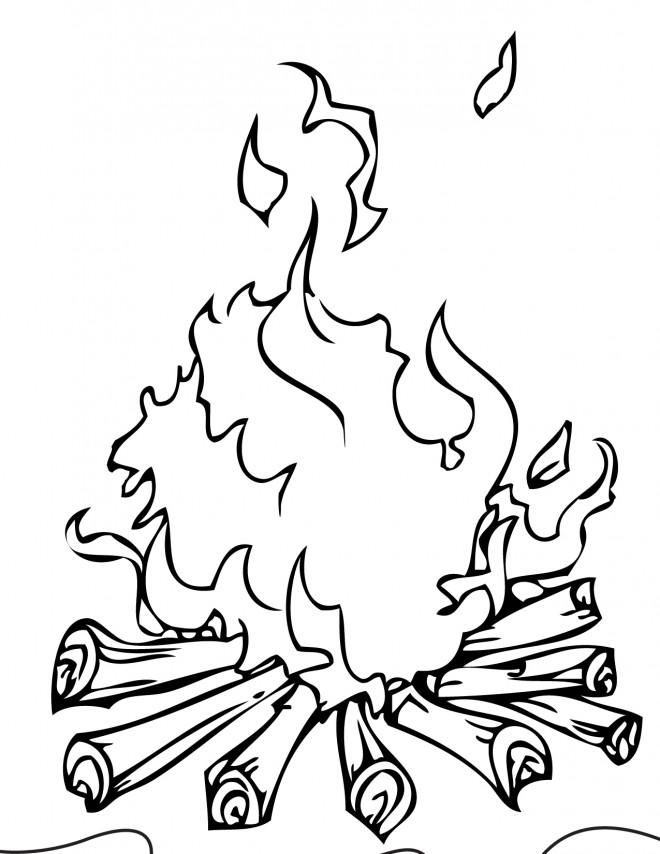 Coloriage et dessins gratuits Feu de Camp à imprimer