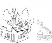 Coloriage Incendie dans une maison