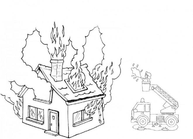 Coloriage Incendie Dans Une Maison Dessin Gratuit à Imprimer