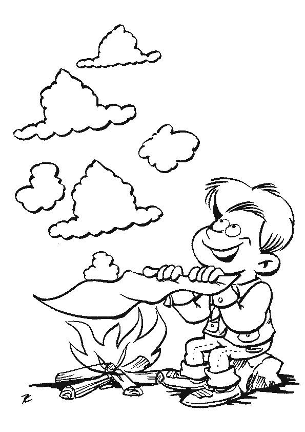 Coloriage et dessins gratuits Le Petit enfant allume le Feu à imprimer