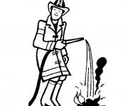 Coloriage Le Pompier éteint le Feu