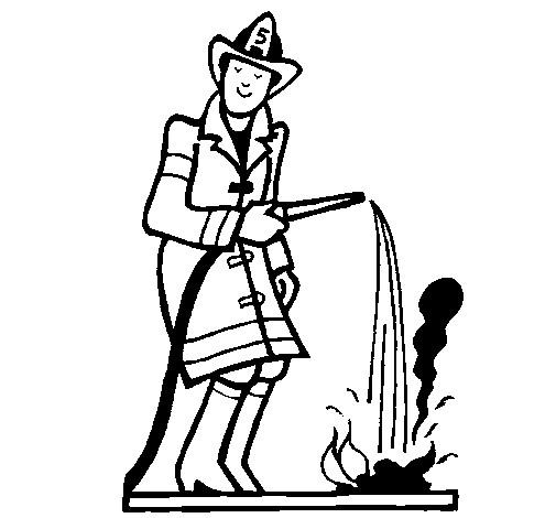 Coloriage et dessins gratuits Le Pompier éteint le Feu à imprimer