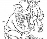 Coloriage et dessins gratuit Les Petits allument Le feu Camping à imprimer