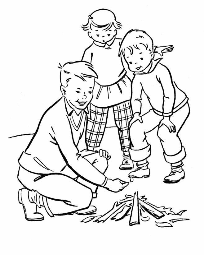 Coloriage et dessins gratuits Les Petits allument Le feu Camping à imprimer