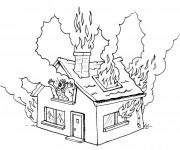 Coloriage Maison en incendie