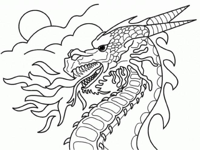 Coloriage Paysage Dragon chinois de Feu dessin gratuit