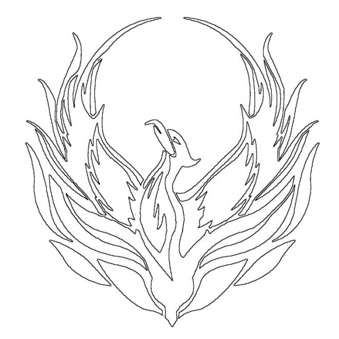 Coloriage et dessins gratuits Phénix l'oiseau de feu à imprimer