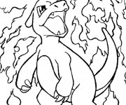 Coloriage Pokémon de Feu Sacha