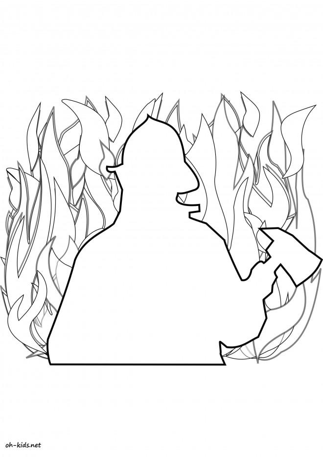 Coloriage et dessins gratuits Pompier et Feu à colorier à imprimer