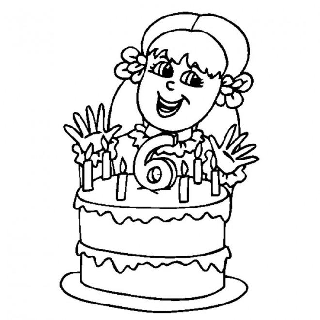 Coloriage anniversaire de fille 6 ans dessin gratuit imprimer - Coloriage pour petite fille ...