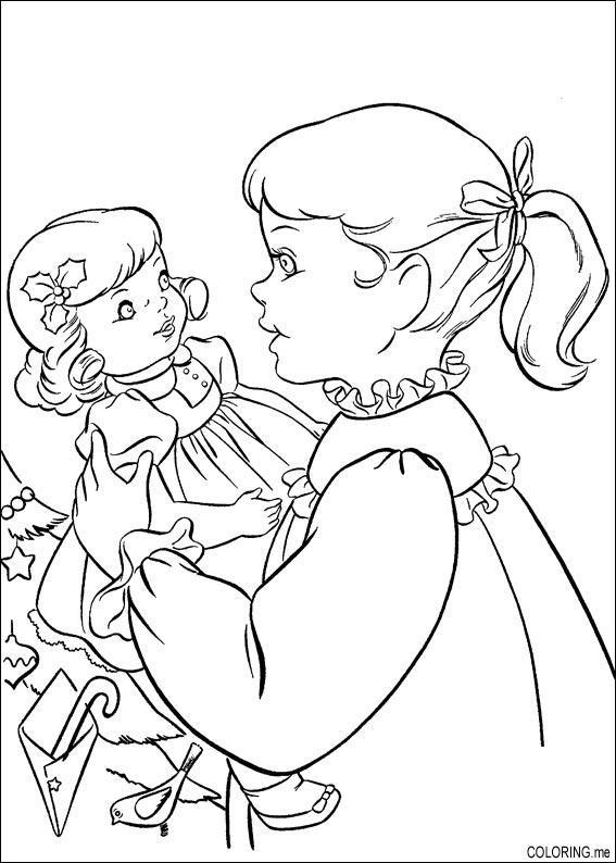 Coloriage et dessins gratuits Fille 10 ans et sa poupée à imprimer