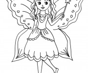 Coloriage Fille Ange