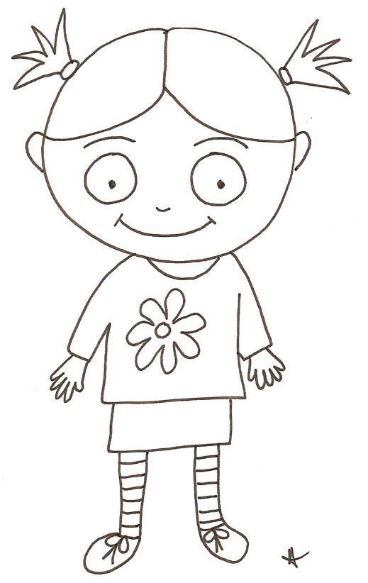 Coloriage et dessins gratuits Fille au crayon à imprimer