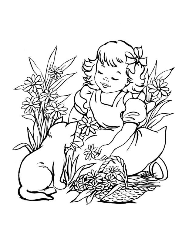 Coloriage et dessins gratuits Fille collecte les fleurs à imprimer