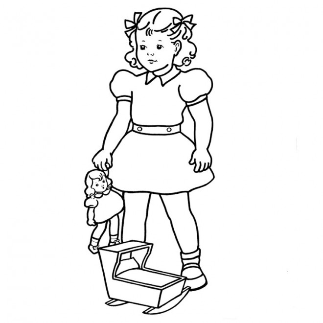 Coloriage et dessins gratuits Fille de 12 ans porte sa poupée à imprimer