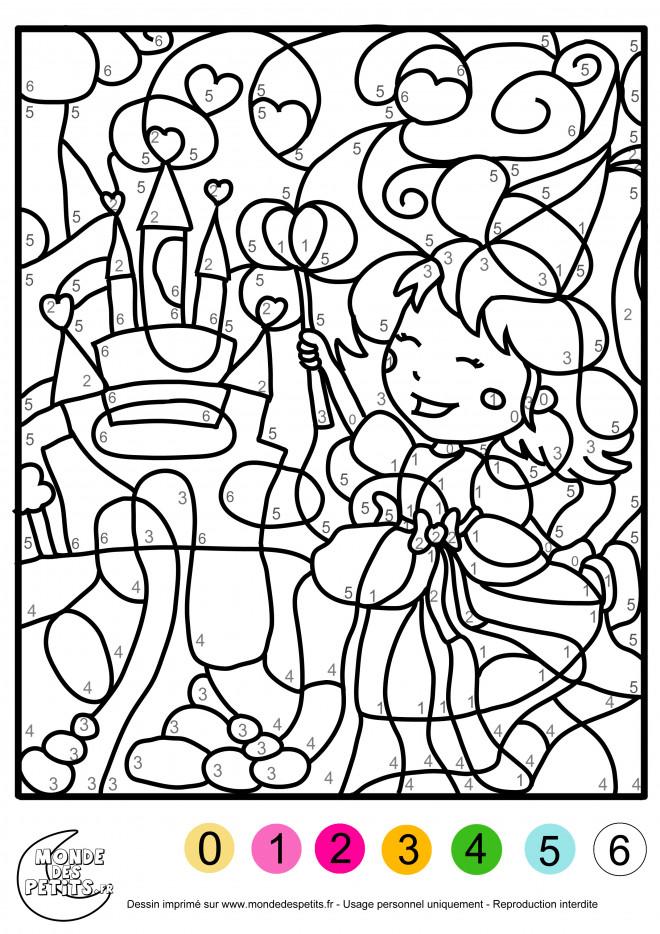 Coloriage et dessins gratuits Fille et Chiffres magique à imprimer