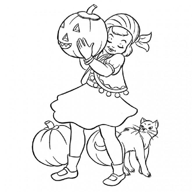 Coloriage et dessins gratuits Fille et Citrouille de Halloween à imprimer
