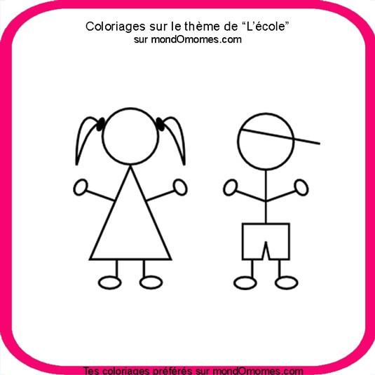 Coloriage et dessins gratuits Fille et le Thème de L'école à imprimer