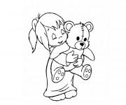 Coloriage et dessins gratuit Fille et sa Peluche à imprimer