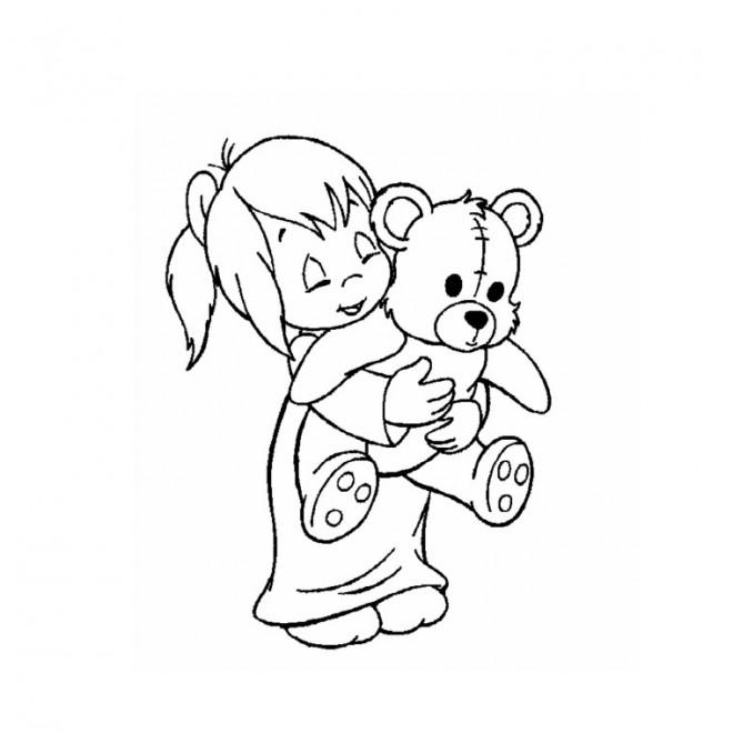 Coloriage et dessins gratuits Fille et sa Peluche à imprimer