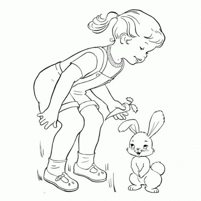 Coloriage et dessins gratuits Fille et son lapin mignon à imprimer
