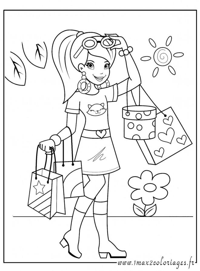 Coloriage et dessins gratuits Fille fait du Shopping à imprimer