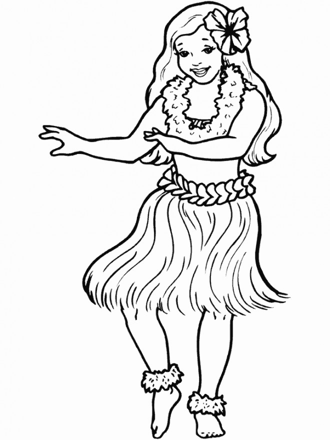 Coloriage et dessins gratuits Fille hawaïenne à imprimer