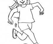 Coloriage et dessins gratuit Fille joue au ballon à imprimer