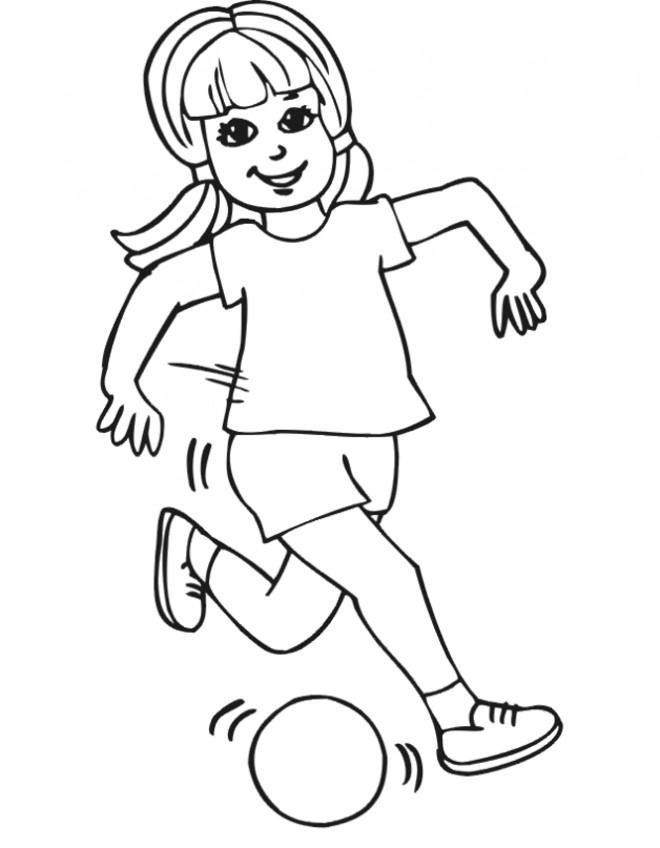 Coloriage et dessins gratuits Fille joue au ballon à imprimer