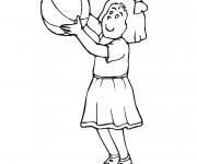 Coloriage et dessins gratuit Fille joue au Basket à imprimer