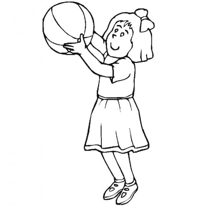 Coloriage et dessins gratuits Fille joue au Basket à imprimer