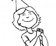 Coloriage et dessins gratuit Fille porte un chapeau à imprimer
