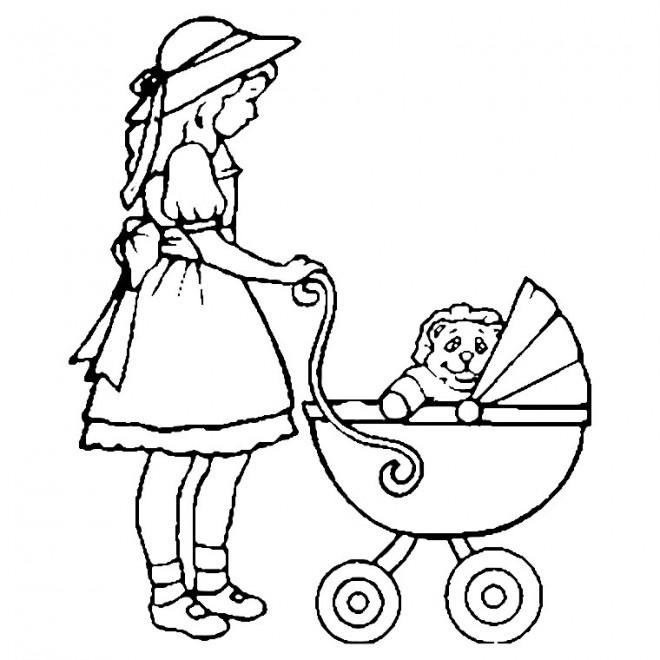 Coloriage et dessins gratuits Fille pousse la poussette à imprimer