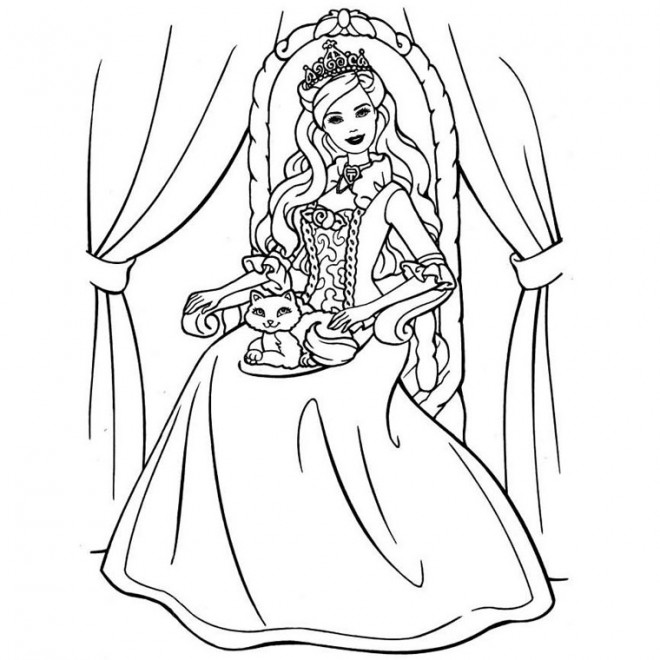 Coloriage Fille A Imprimer Princesse.Coloriage Fille Princesse Barbie Dessin Gratuit A Imprimer
