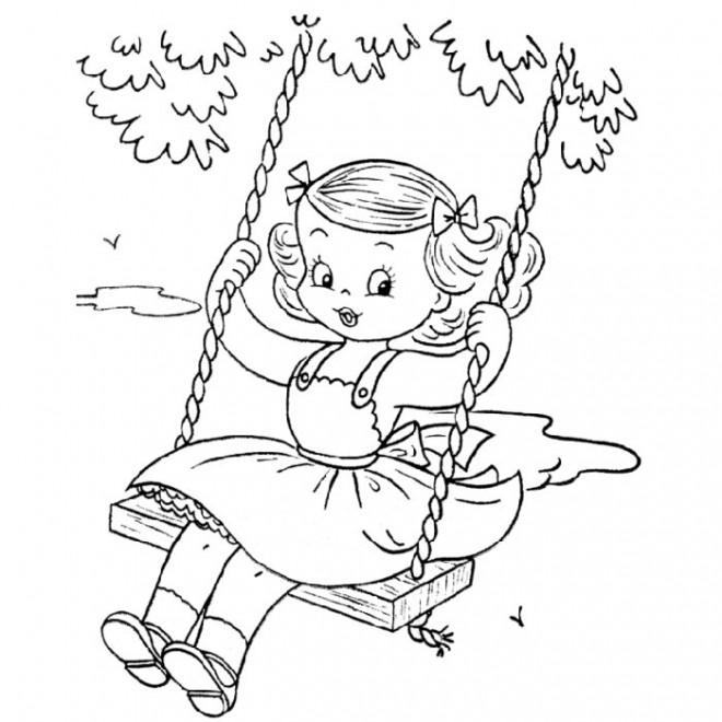 Coloriage et dessins gratuits Fille s'amuse au jardin à imprimer